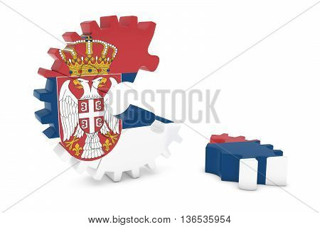 Serbian Flag Gear Puzzle With Piece On Floor 3D Illustration