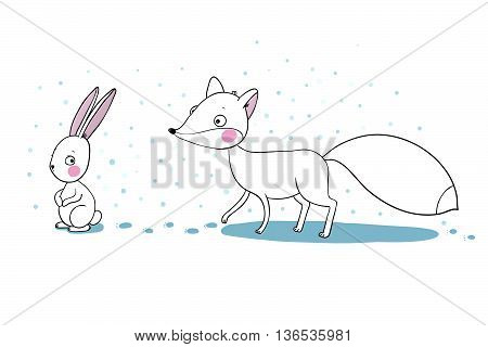 Cute cartoon fox and hare. Winter. Hand drawing isolated objects on white background. Vector illustration.
