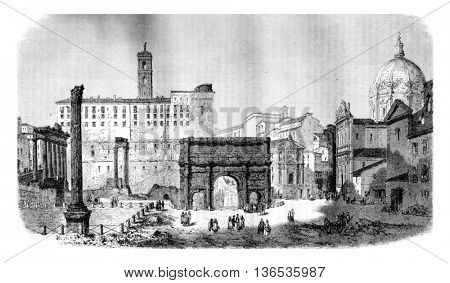 Campo Vaccino in Rome, vintage engraved illustration. Magasin Pittoresque 1861.