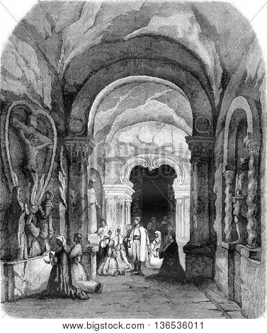 La Chapelle Saint Antoine, in salt mines in Wieliczka, vintage engraved illustration. Magasin Pittoresque 1861.