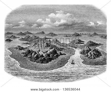 Rocks of the Chausey archipelago, vintage engraved illustration. Magasin Pittoresque 1861.