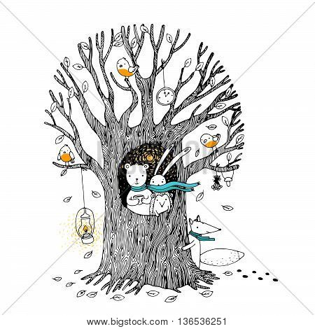 Autumn tree, bear, hare, hedgehog, fox and birds. Hand drawn vector illustration on a white background.