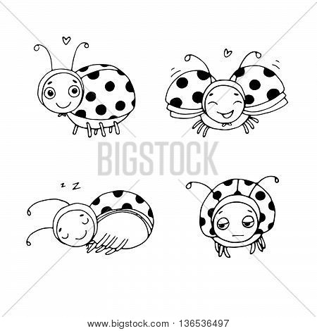 Set of ladybugs. Hand drawing isolated objects on white background. Vector illustration.