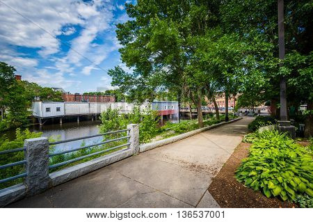 Gardens Along The Cocheco River In Downtown Dover, New Hampshire.