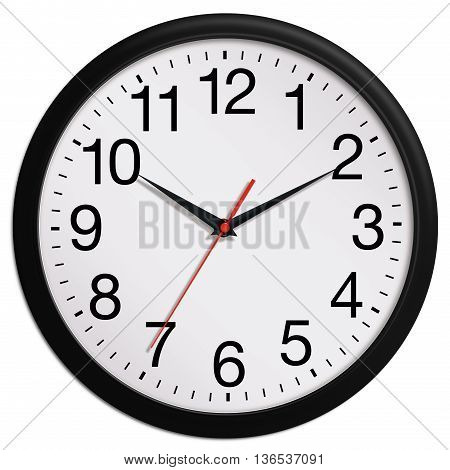 Black wall clock shows ten past ten isolated on white background