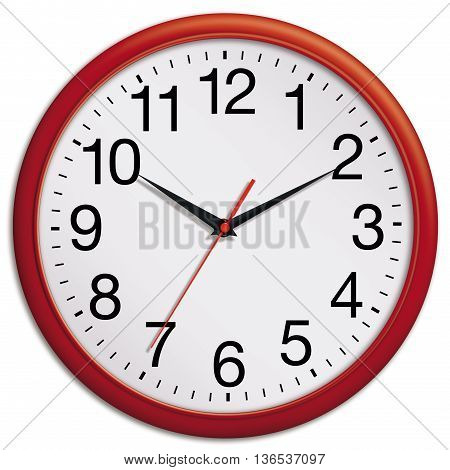 Red wall clock shows ten past ten isolated on white background