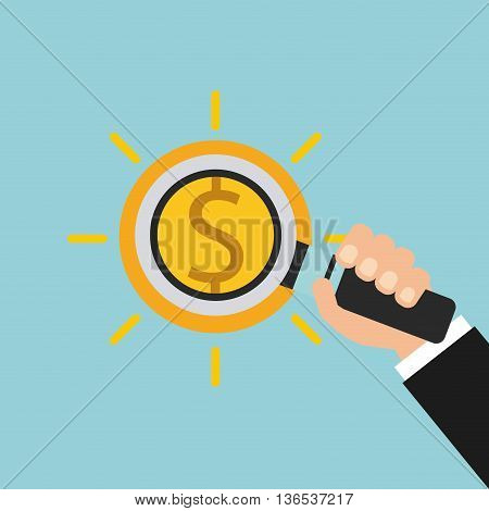 search money with magnifying isolated icon design, vector illustration  graphic