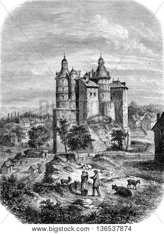 Chateau de Montbeliard, vintage engraved illustration. Magasin Pittoresque 1861.