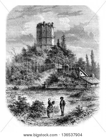 Tower of Buffon, Montbard, vintage engraved illustration. Magasin Pittoresque 1861.