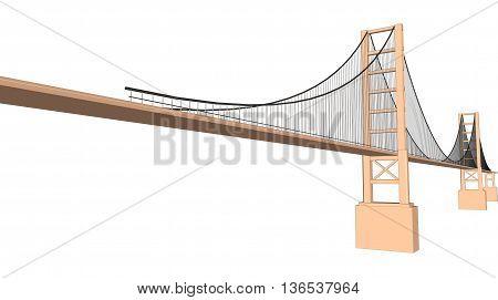 Vector 3D bridge City buildings view on white