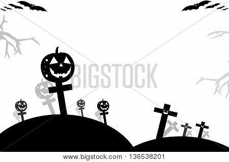 Halloween Background Wtih Spooky Bats And Pumpkins.space For Your Halloween Holiday Text.