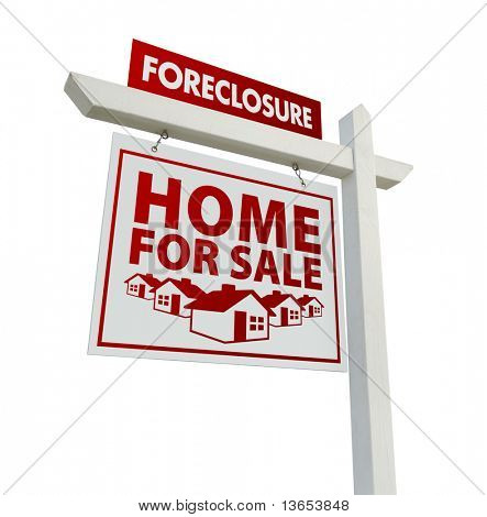 Red Foreclosure Home For Sale Real Estate Sign Isolated on a White Background.