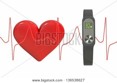 activity tracker or fitness bracelet Heart rate monitor concept. 3D rendering