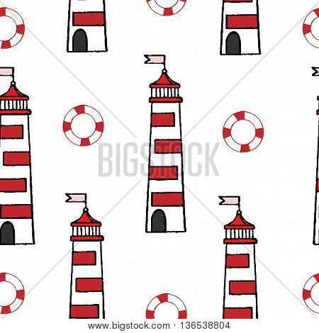 Seamless with lighthouse and rescue circle on the white background