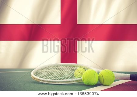 England Tennis Concept With Flag And Ball Vimtage Color