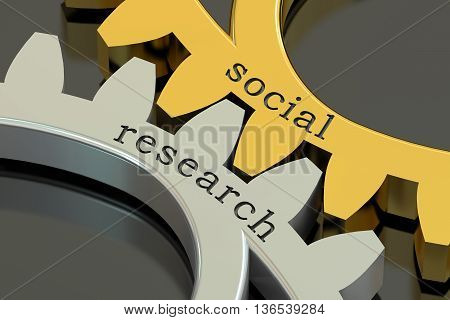 Social Research concept on the gearwheels 3D rendering