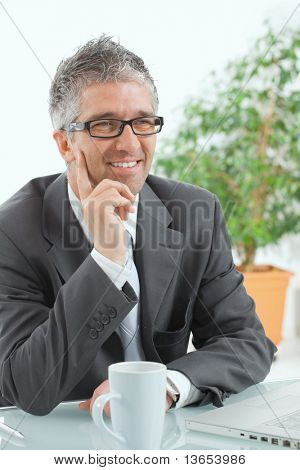 Businessman with grey hair, wearing grey suit and glasses thinking over laptop computer, sitting at desk, smiling.?