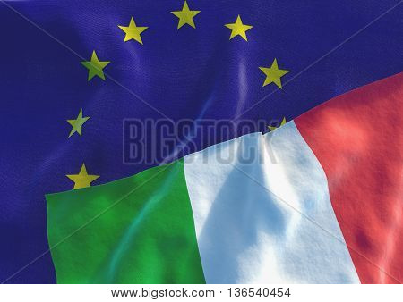 Flags of the Italy and the European Union. Italian Flag and EU Flag. 3D render
