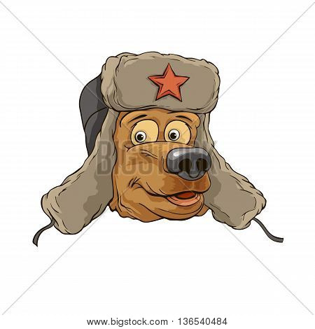 bear head in a cap with the logo of a star on a white background