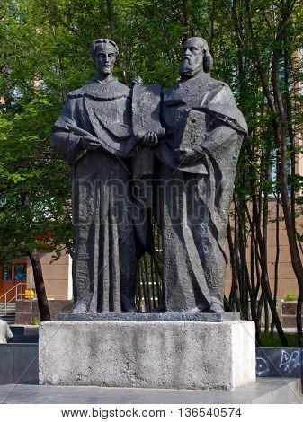 Murmansk Russia - June 19 2013 Monument to the creators of the Slavic alphabet Saints Cyril and Methodius
