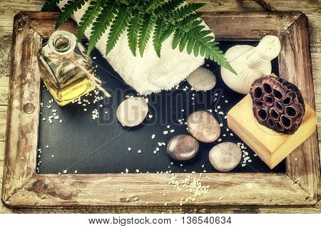 Spa setting with beauty treatment accessories. Wellness concept, top view