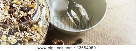 Healthy breakfast with muesli and dried fruits. Health and diet concept with copy space