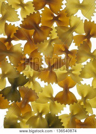 farfalle pasta on the white background