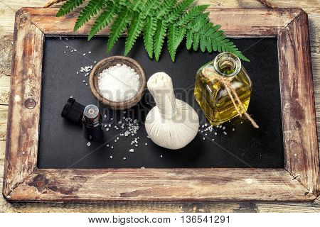 Spa setting with beauty treatment accessories. Wellness concept top view