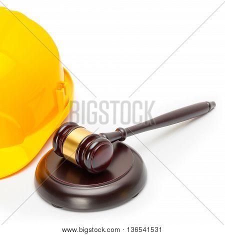 Wooden Judge Gavel With Yellow Protective Helmet - Studio Shoot