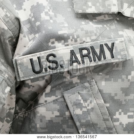 Us Flag And U.s. Army Patch On Military Uniform - Studio Shot