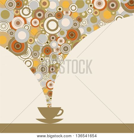 The сard with a fragrant coffee on a white background