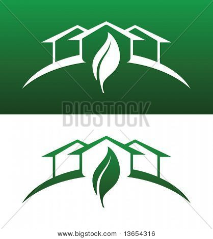 Green House Vector Both Solid and Reversed