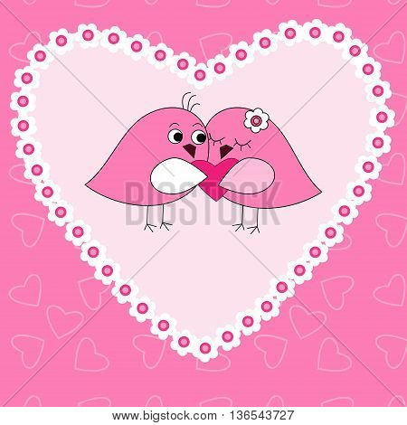 The card with a birds in love