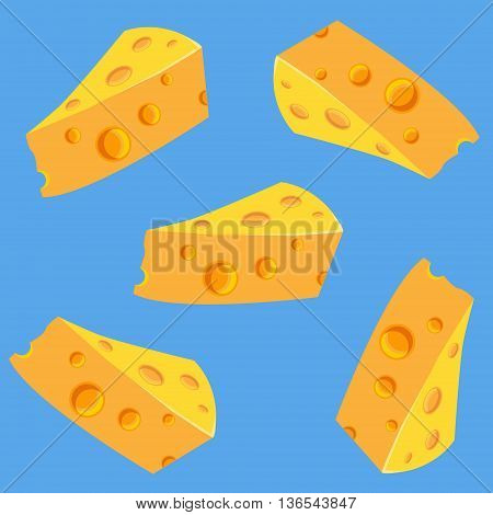 The seamless pattern with a delicious cheese