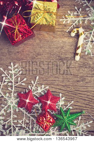 Chrismas Baubles And Vary Of Decoration On Wood Background Vintage Color
