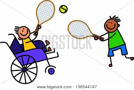 A doodle sketch of a happy little boy in a wheelchair playing a game of tennis with an able bodied friend.