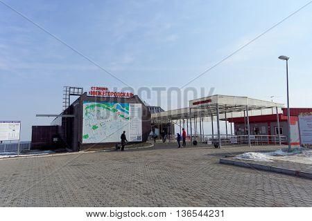 Nizhny Novgorod Russia. - March 31.2016. Cableway station Nizhegorodskaia on the street Kazan embankment