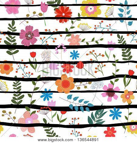 Illustration of floral seamless.Colorful isolated flowers with black strips on a white background.