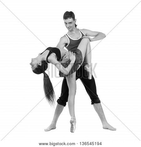 colorless portrait of couple man and woman exercising fitness dancing, isolated on white in full length