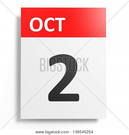 Calendar On White Background. 2 October.