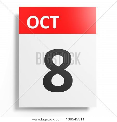 Calendar On White Background. 8 October.