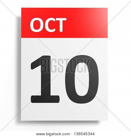 Calendar On White Background. 10 October.
