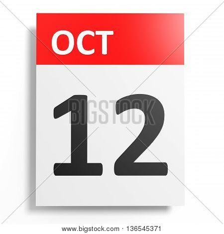 Calendar On White Background. 12 October.