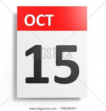 Calendar On White Background. 15 October.