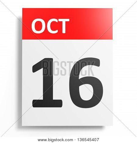 Calendar On White Background. 16 October.