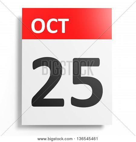 Calendar On White Background. 25 October.