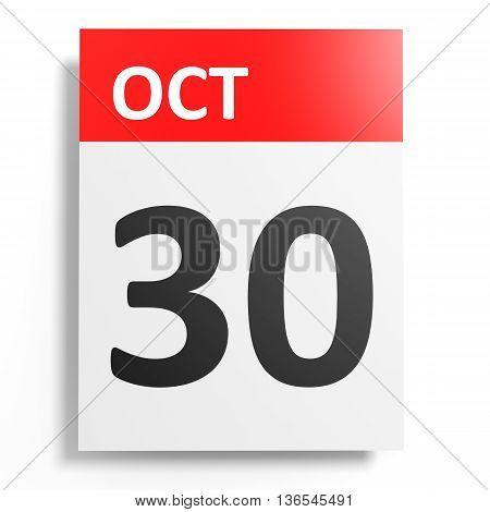 Calendar On White Background. 30 October.