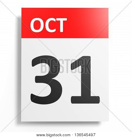 Calendar On White Background. 31 October.