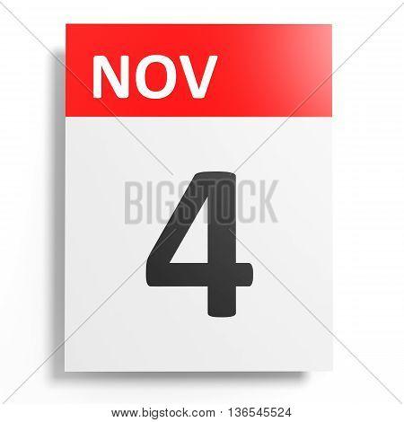 Calendar On White Background. 4 November.
