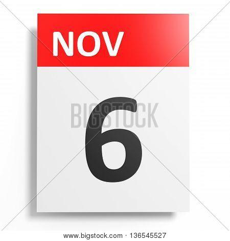 Calendar On White Background. 6 November.